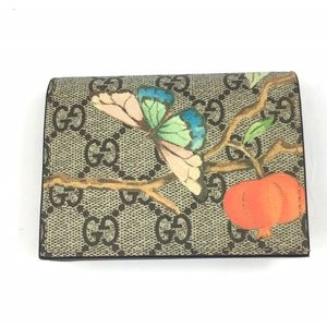 Gucci #474570 GG Supreme Tian Card Case/ Wallet